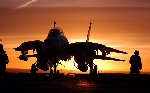 F14 Tomcat on an aircraft carrier